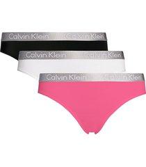 calvin klein 3-pack bikini slips wit/zwart/roze - m8c