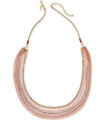 "style & co gold-tone colorful multi-strand statement necklace, 31"" + 3"" extender, created for macy's"