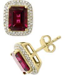 effy rhodolite garnet (3-7/8 ct. t.w.) & diamond (3/8 ct. t.w.) stud earrings in 14k gold