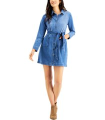 style & co belted denim dress, created for macy's