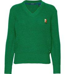 chunky cotton mix pull in bright color stickad tröja grön scotch & soda
