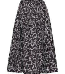 women's moncler logo pleated skirt, size 6 us - grey