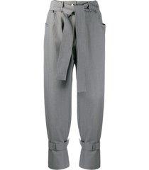 msgm high-rise tweed trousers - black