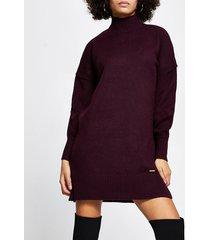 river island womens dark red turtleneck jumper dress