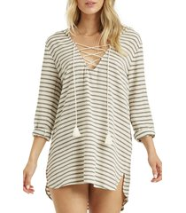 women's billabong same story hooded cover-up tunic, size large - black