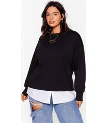 womens chill next time plus relaxed sweatshirt - black