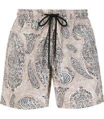 etro paisley print swim shorts - neutrals