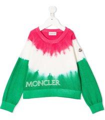 moncler enfant tie-dye logo embroidered jumper - pink