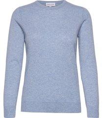 basic sweater stickad tröja blå davida cashmere