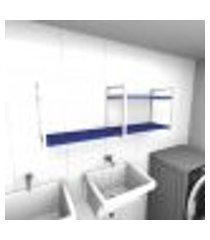 prateleira industrial para lavanderia aço branco mdf 30 cm azul escuro modelo indb07azlav