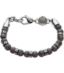 diesel men's beaded gray labradorite bracelet