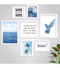 conjunto kit 7 quadro oppen house s frases reflexão home sueet be brave sentimentos moldura e vidro