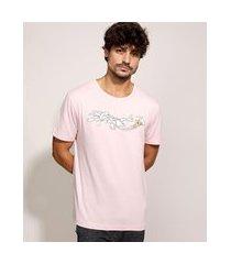 camiseta masculina tom e jerry manga curta gola careca rosa claro