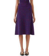 women's gucci polka dot & double g logo wool blend skirt, size x-small - blue