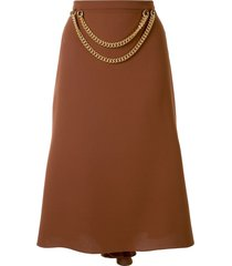 0711 chain detail skirt - brown