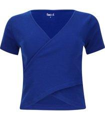 camiseta unicolor cruzada en frente color azul, talla 14