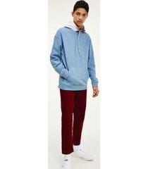 tommy hilfiger men's organic cotton graphic hoodie vintage denim / silver grey - xs
