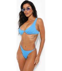 geribbelde bikini top met beugel, blue