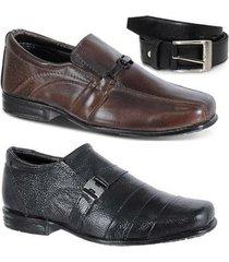 kit 2 pares sapato social infantil e 1 cinto em couro leoppé - masculino