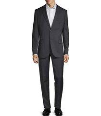 slim-fit notch wool suit