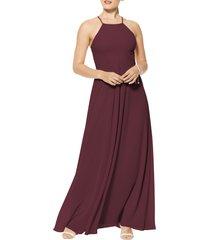 women's #levkoff halter neck chiffon a-line gown, size 14 - red
