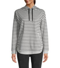 beach lunch lounge women's teri striped hoodie - grey heather - size m