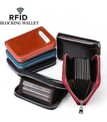 unisex portafoglio in pelle vera con rfid con 12 card slots portamonete