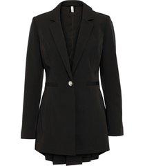 blazer lungo con bottone gioiello (nero) - bodyflirt boutique