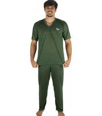 pijama mvb modas longo adulto  manga curta e calã§a verde - verde - masculino - poliã©ster - dafiti