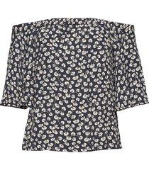 roseburg crepe blouses short-sleeved blauw ganni