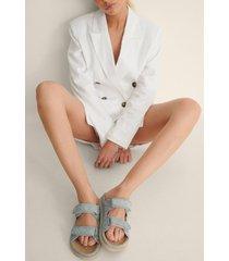 na-kd shoes quiltade velcro sandaler - blue