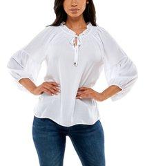 adrienne vittadini women's 3/4 raglan sleeve peasant top with smocking detail