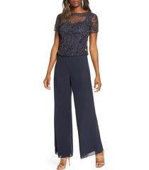 women's pisarro nights beaded mock two-piece jumpsuit, size 6 - blue
