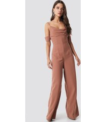 na-kd party cowl neck jumpsuit - brown
