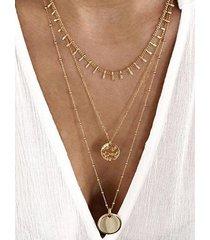 collar muti-capa decoración monedas oro