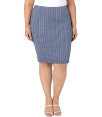plus size women's liverpool los angeles reese stripe pencil skirt, size 22w - blue