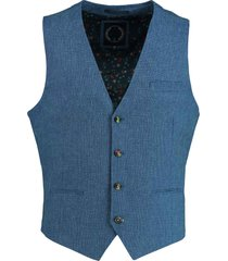 bos bright blue gilet blauw contrast knopen 20111kr21sb/240 blue