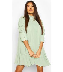 puff sleeve ruffle neck smock dress, sage