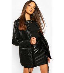 longline belted utility pu jacket, black