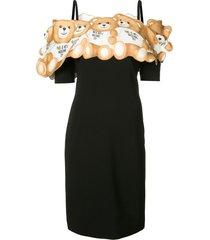 moschino teddy off the shoulder dress - black