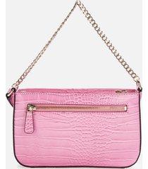 guess women's katey mini top zip shoulder bag - pink