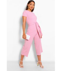 wrap waist short sleeve wide leg jumpsuit, light pink