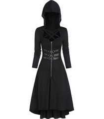 hooded lobster buckle strap high low gothic dress