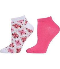 diamond socks, 2 pair pack, women's, pink, josie