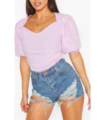 pleated sleeve sweetheart neck top, lilac
