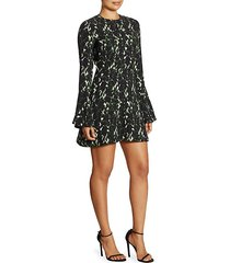 trixie printed silk bell-sleeve mini dress
