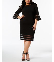 calvin klein plus size illusion-trim sheath dress