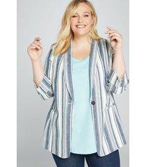 lane bryant women's striped shawl-collar blazer 26p ranni stripe