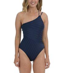 la blanca linea one-shoulder mio one-piece swimsuit, size 16 in indigo at nordstrom