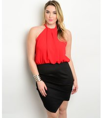 sexy red black short party cruise cocktail plus size dress xl, 2x or 3xl